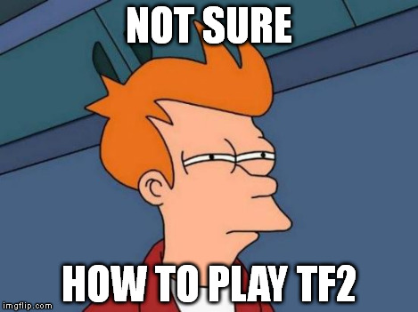 Futurama Fry Meme | NOT SURE HOW TO PLAY TF2 | image tagged in memes,futurama fry | made w/ Imgflip meme maker