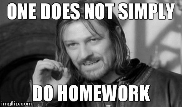 One Does Not Simply Meme | ONE DOES NOT SIMPLY DO HOMEWORK | image tagged in memes,one does not simply | made w/ Imgflip meme maker