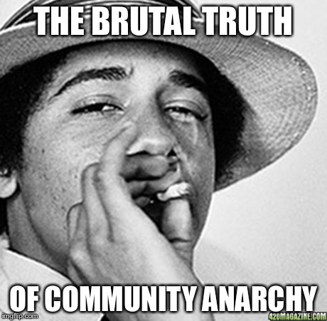 Being cool | THE BRUTAL TRUTH OF COMMUNITY ANARCHY | image tagged in being cool | made w/ Imgflip meme maker