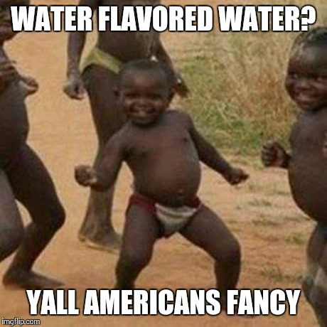 Third World Success Kid Meme | WATER FLAVORED WATER? YALL AMERICANS FANCY | image tagged in memes,third world success kid | made w/ Imgflip meme maker