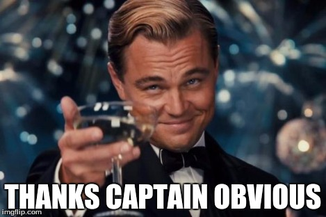 THANKS CAPTAIN OBVIOUS | image tagged in memes,leonardo dicaprio cheers | made w/ Imgflip meme maker