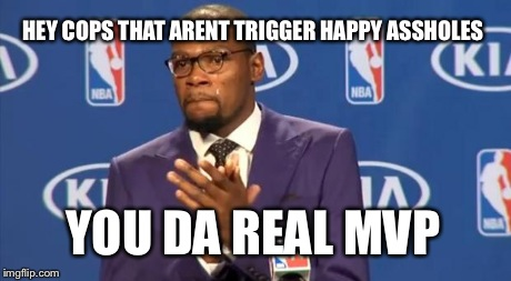 You The Real MVP Meme | HEY COPS THAT ARENT TRIGGER HAPPY ASSHOLES YOU DA REAL MVP | image tagged in memes,you the real mvp | made w/ Imgflip meme maker