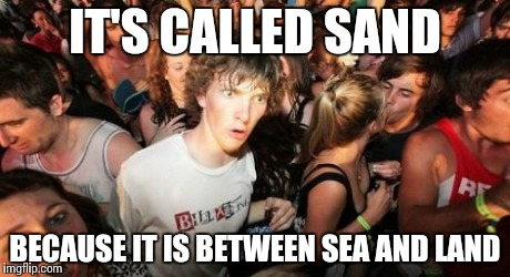 Except for Darude - SANDstorm | IT'S CALLED SAND BECAUSE IT IS BETWEEN SEA AND LAND | image tagged in memes,sudden clarity clarence,funny,sea,land,sand | made w/ Imgflip meme maker