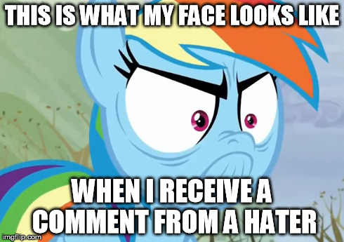 Angry Rainbow Dash | THIS IS WHAT MY FACE LOOKS LIKE WHEN I RECEIVE A COMMENT FROM A HATER | image tagged in my little pony,rainbow dash,angry | made w/ Imgflip meme maker