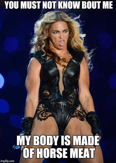 Ermahgerd Beyonce | YOU MUST NOT KNOW BOUT ME MY BODY IS MADE OF HORSE MEAT | image tagged in memes,ermahgerd beyonce | made w/ Imgflip meme maker