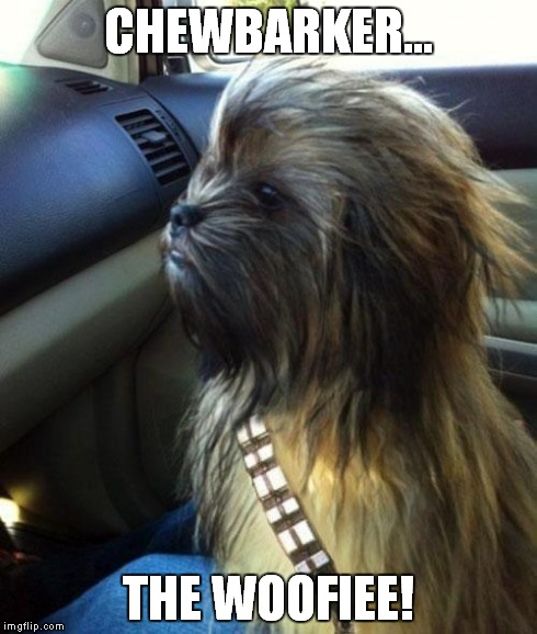 CHEWBARKER... THE WOOFIEE! | image tagged in memes,star wars,chewbacca,dogs | made w/ Imgflip meme maker