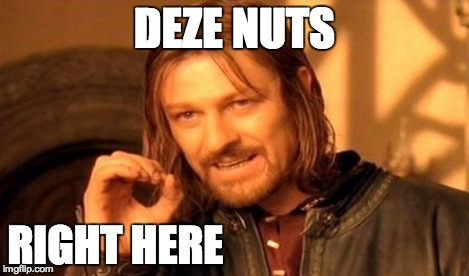 One Does Not Simply | DEZE NUTS RIGHT HERE | image tagged in memes,one does not simply | made w/ Imgflip meme maker
