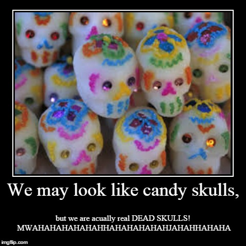 We may look like candy skulls, | but we are acually real DEAD SKULLS! MWAHAHAHAHAHAHHAHAHAHAHAHJAHAHHAHAHA | image tagged in funny,demotivationals | made w/ Imgflip demotivational maker
