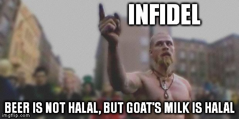 Techno Wiking - You | INFIDEL BEER IS NOT HALAL, BUT GOAT'S MILK IS HALAL | image tagged in techno wiking - you | made w/ Imgflip meme maker