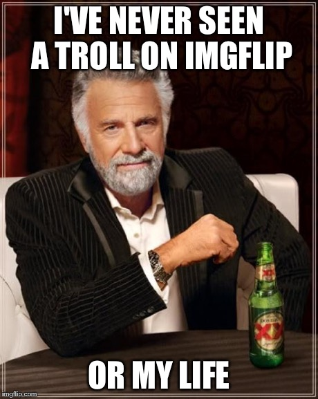 The Most Interesting Man In The World Meme | I'VE NEVER SEEN A TROLL ON IMGFLIP OR MY LIFE | image tagged in memes,the most interesting man in the world | made w/ Imgflip meme maker