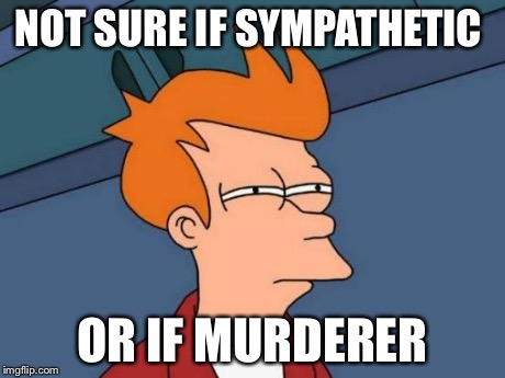 Futurama Fry Meme | NOT SURE IF SYMPATHETIC OR IF MURDERER | image tagged in memes,futurama fry | made w/ Imgflip meme maker