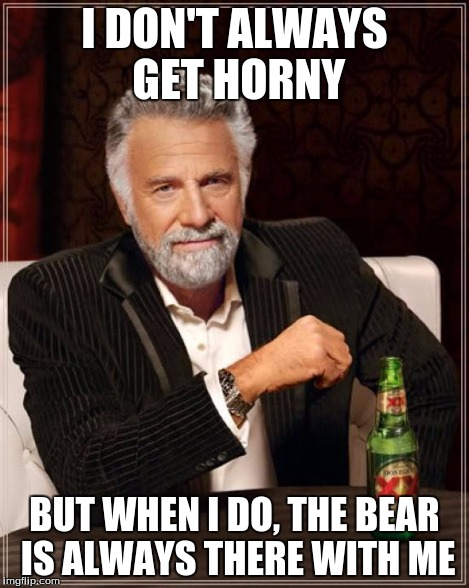 The Most Interesting Man In The World Meme | I DON'T ALWAYS GET HORNY BUT WHEN I DO, THE BEAR IS ALWAYS THERE WITH ME | image tagged in memes,the most interesting man in the world | made w/ Imgflip meme maker