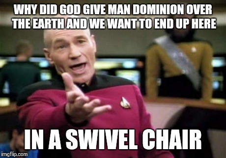 Picard Wtf Meme | WHY DID GOD GIVE MAN DOMINION OVER THE EARTH AND WE WANT TO END UP HERE IN A SWIVEL CHAIR | image tagged in memes,picard wtf | made w/ Imgflip meme maker