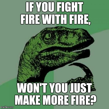 Philosoraptor Meme | IF YOU FIGHT FIRE WITH FIRE, WON'T YOU JUST MAKE MORE FIRE? | image tagged in memes,philosoraptor | made w/ Imgflip meme maker