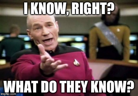 Picard Wtf Meme | I KNOW, RIGHT? WHAT DO THEY KNOW? | image tagged in memes,picard wtf | made w/ Imgflip meme maker