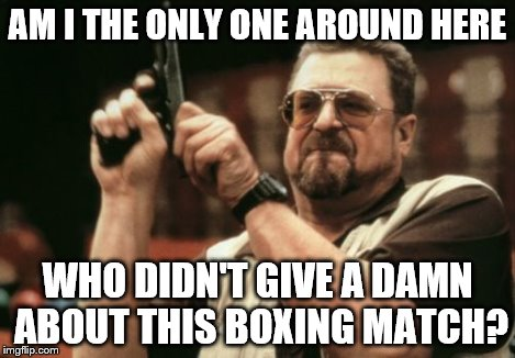 Am I The Only One Around Here Meme | AM I THE ONLY ONE AROUND HERE WHO DIDN'T GIVE A DAMN ABOUT THIS BOXING MATCH? | image tagged in memes,am i the only one around here | made w/ Imgflip meme maker