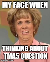 Confused Face Jane | MY FACE WHEN THINKING ABOUT TMA5 QUESTION | image tagged in confused face jane | made w/ Imgflip meme maker