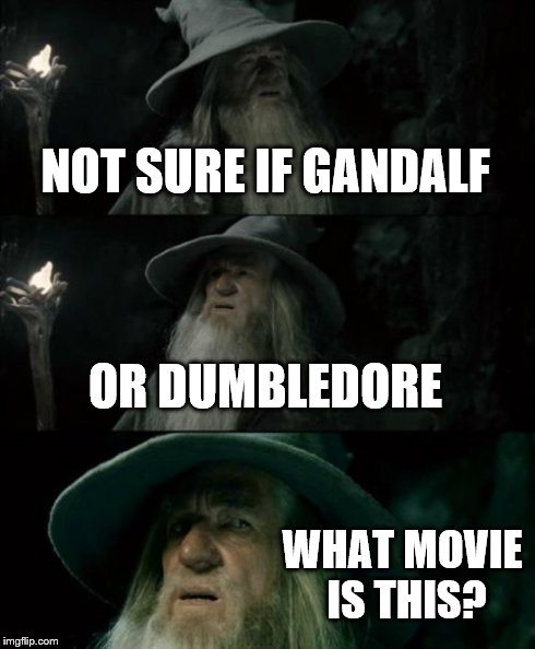 Confused Gandalf Meme | NOT SURE IF GANDALF OR DUMBLEDORE WHAT MOVIE IS THIS? | image tagged in memes,confused gandalf | made w/ Imgflip meme maker