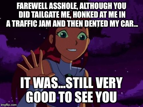 Happy Starfire | FAREWELL ASSHOLE, ALTHOUGH YOU DID TAILGATE ME, HONKED AT ME IN A TRAFFIC JAM AND THEN DENTED MY CAR... IT WAS...STILL VERY GOOD TO SEE YOU | image tagged in happy starfire | made w/ Imgflip meme maker