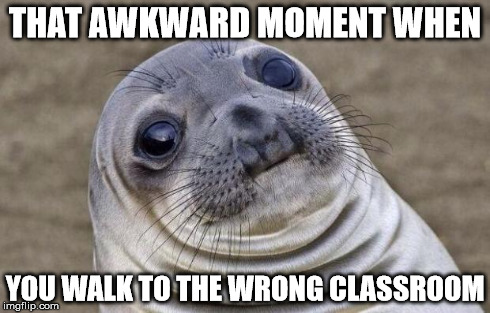Who hasn't done this? | THAT AWKWARD MOMENT WHEN YOU WALK TO THE WRONG CLASSROOM | image tagged in memes,awkward moment sealion | made w/ Imgflip meme maker