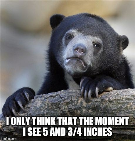 Confession Bear Meme | I ONLY THINK THAT THE MOMENT I SEE 5 AND 3/4 INCHES | image tagged in memes,confession bear | made w/ Imgflip meme maker