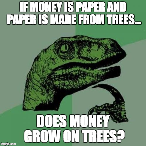 Philosoraptor Meme | IF MONEY IS PAPER AND PAPER IS MADE FROM TREES... DOES MONEY GROW ON TREES? | image tagged in memes,philosoraptor | made w/ Imgflip meme maker