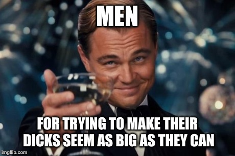 Leonardo Dicaprio Cheers Meme | MEN FOR TRYING TO MAKE THEIR DICKS SEEM AS BIG AS THEY CAN | image tagged in memes,leonardo dicaprio cheers | made w/ Imgflip meme maker