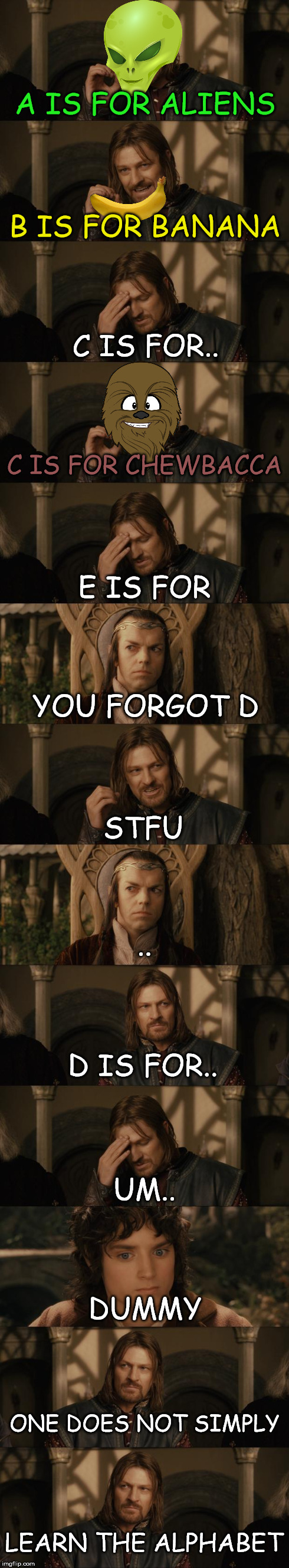 Boromir Learns His ABC's | A IS FOR ALIENS B IS FOR BANANA C IS FOR.. C IS FOR CHEWBACCA E IS FOR YOU FORGOT D STFU .. D IS FOR.. UM.. DUMMY ONE DOES NOT SIMPLY LEARN  | image tagged in one does not simply,alphabet,abc | made w/ Imgflip meme maker