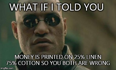 Matrix Morpheus Meme | WHAT IF I TOLD YOU MONEY IS PRINTED ON 25% LINEN 75% COTTON SO YOU BOTH ARE WRONG | image tagged in memes,matrix morpheus | made w/ Imgflip meme maker