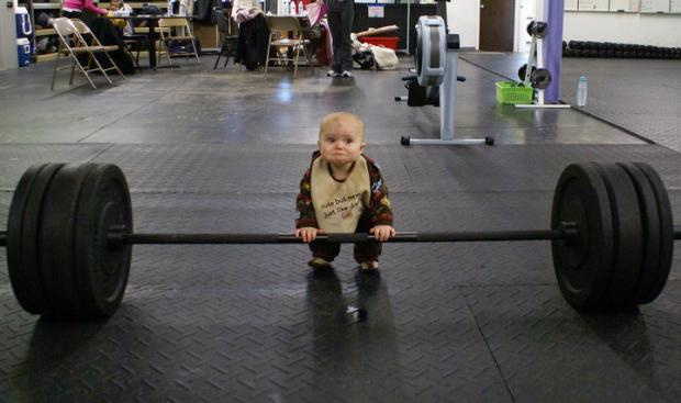 Baby weight lifter Blank Meme Template
