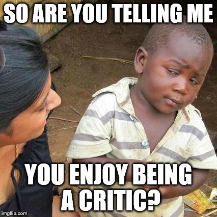 SO ARE YOU TELLING ME YOU ENJOY BEING A CRITIC? | image tagged in memes,third world skeptical kid | made w/ Imgflip meme maker
