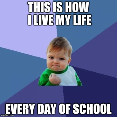 Success Kid Meme | THIS IS HOW I LIVE MY LIFE EVERY DAY OF SCHOOL | image tagged in memes,success kid | made w/ Imgflip meme maker