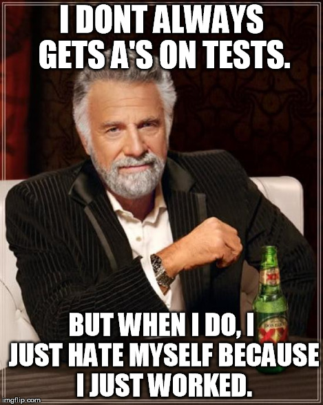 The Most Interesting Man In The World Meme | I DONT ALWAYS GETS A'S ON TESTS. BUT WHEN I DO, I JUST HATE MYSELF BECAUSE I JUST WORKED. | image tagged in memes,the most interesting man in the world | made w/ Imgflip meme maker