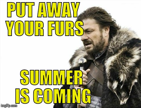 I'm allergic to fur anyway | PUT AWAY YOUR FURS SUMMER IS COMING | image tagged in memes,brace yourselves x is coming | made w/ Imgflip meme maker