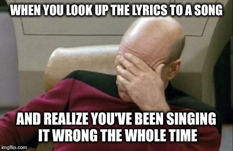 Captain Picard Facepalm Meme | WHEN YOU LOOK UP THE LYRICS TO A SONG AND REALIZE YOU'VE BEEN SINGING IT WRONG THE WHOLE TIME | image tagged in memes,captain picard facepalm | made w/ Imgflip meme maker