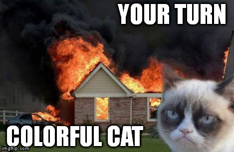 Burn Kitty | YOUR TURN COLORFUL CAT | image tagged in burn kitty | made w/ Imgflip meme maker