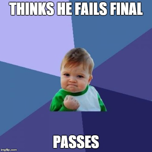 Success Kid Meme | THINKS HE FAILS FINAL PASSES | image tagged in memes,success kid | made w/ Imgflip meme maker