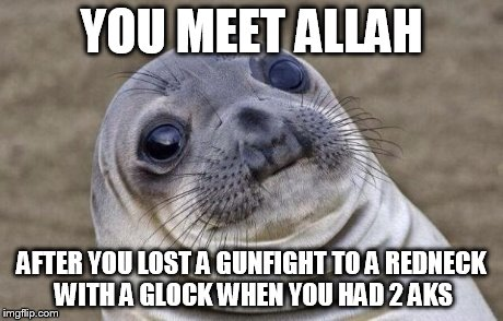 Awkward Moment Sealion Meme | YOU MEET ALLAH AFTER YOU LOST A GUNFIGHT TO A REDNECK WITH A GLOCK WHEN YOU HAD 2 AKS | image tagged in memes,awkward moment sealion | made w/ Imgflip meme maker