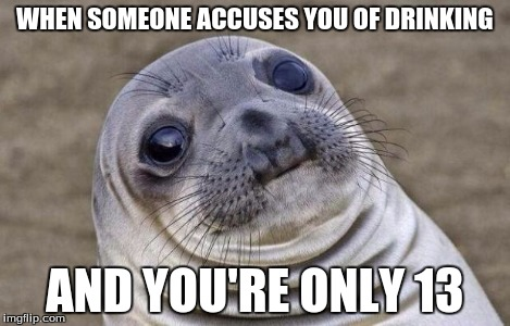 Awkward Moment Sealion Meme | WHEN SOMEONE ACCUSES YOU OF DRINKING AND YOU'RE ONLY 13 | image tagged in memes,awkward moment sealion | made w/ Imgflip meme maker
