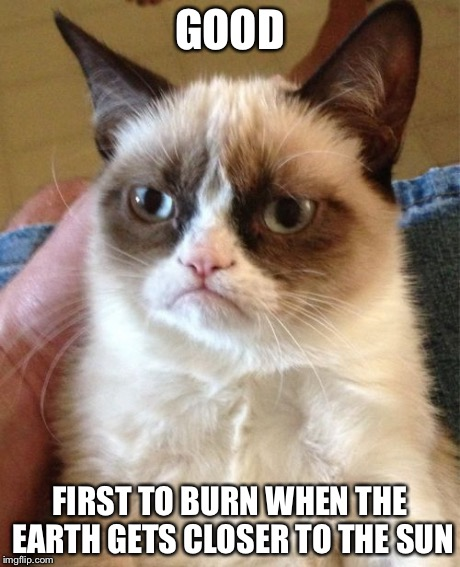 Grumpy Cat Meme | GOOD FIRST TO BURN WHEN THE EARTH GETS CLOSER TO THE SUN | image tagged in memes,grumpy cat | made w/ Imgflip meme maker