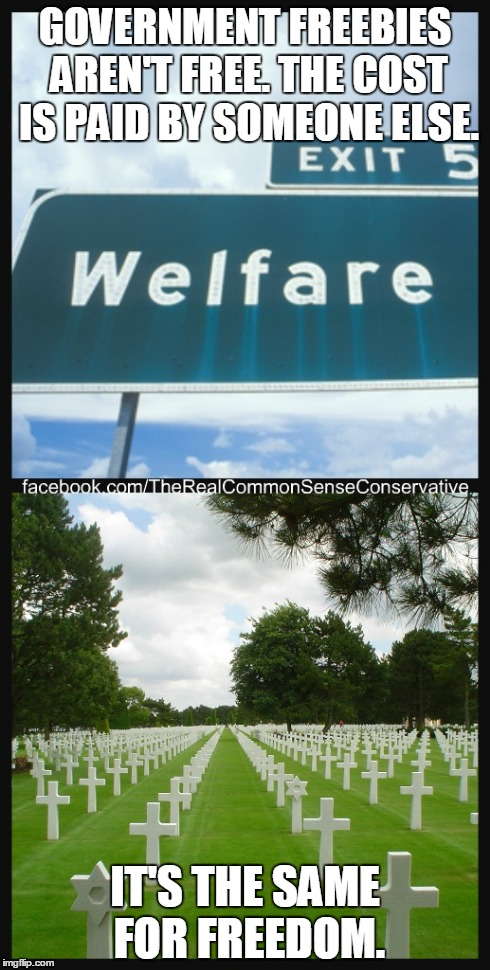 GOVERNMENT FREEBIES AREN'T FREE. THE COST IS PAID BY SOMEONE ELSE. IT'S THE SAME FOR FREEDOM. | image tagged in freedom,veteran,welfare | made w/ Imgflip meme maker
