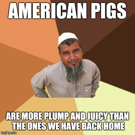 They're More Tasty, Too! | AMERICAN PIGS ARE MORE PLUMP AND JUICY THAN THE ONES WE HAVE BACK HOME | image tagged in memes,ordinary muslim man | made w/ Imgflip meme maker