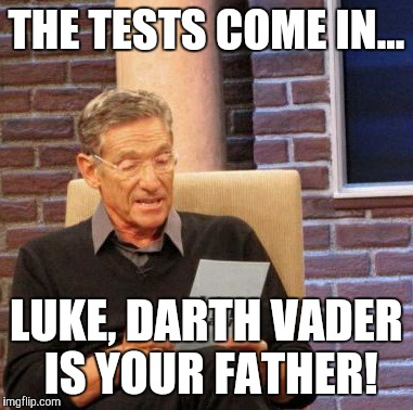 Maury Lie Detector | THE TESTS COME IN... LUKE, DARTH VADER IS YOUR FATHER! | image tagged in memes,maury lie detector | made w/ Imgflip meme maker