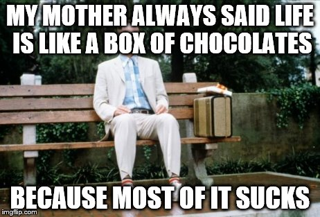 That's Forrest Gump, By the Way | MY MOTHER ALWAYS SAID LIFE IS LIKE A BOX OF CHOCOLATES BECAUSE MOST OF IT SUCKS | image tagged in forrest gump | made w/ Imgflip meme maker