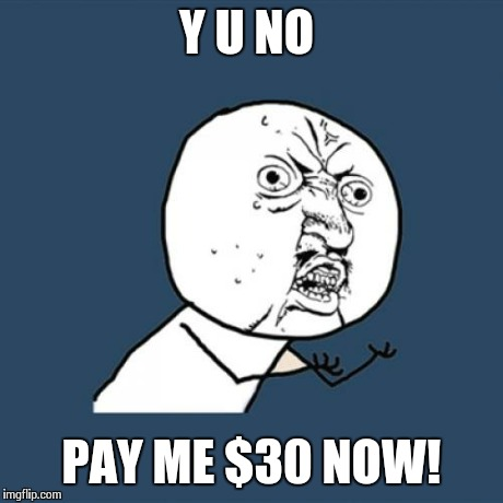 Y U No Meme | Y U NO PAY ME $30 NOW! | image tagged in memes,y u no | made w/ Imgflip meme maker