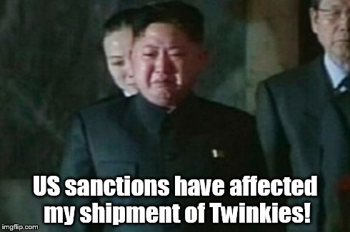 Kim Jong Un Sad | US sanctions have affected my shipment of Twinkies! | image tagged in memes,kim jong un sad | made w/ Imgflip meme maker