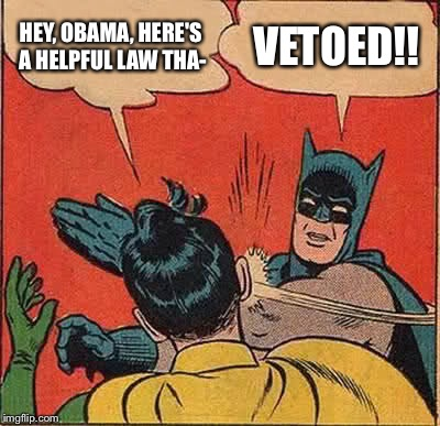 How the legislative and executive branches work these days | HEY, OBAMA, HERE'S A HELPFUL LAW THA- VETOED!! | image tagged in memes,batman slapping robin | made w/ Imgflip meme maker