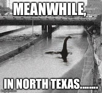 Flooding in North Texas | MEANWHILE, IN NORTH TEXAS........ | image tagged in flood,northtexas,texoma,nessie,rain | made w/ Imgflip meme maker