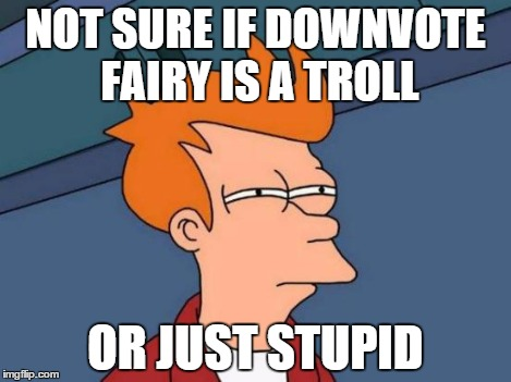 Futurama Fry Meme | NOT SURE IF DOWNVOTE FAIRY IS A TROLL OR JUST STUPID | image tagged in memes,futurama fry | made w/ Imgflip meme maker