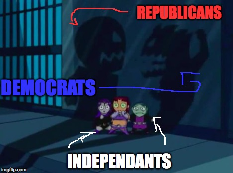 Domestic Violence Teen Titans 2 | DEMOCRATS REPUBLICANS INDEPENDANTS | image tagged in domestic violence teen titans 2 | made w/ Imgflip meme maker